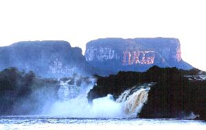 The Hacha Falls of Canaima at dawn, with Kusari Tepuy behind... cocktail anyone?